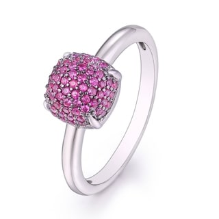 18K White Gold and Ruby Square Ring
