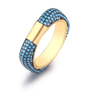 Peermont Jewelry Goldplated Genuine Turquoise Square Band