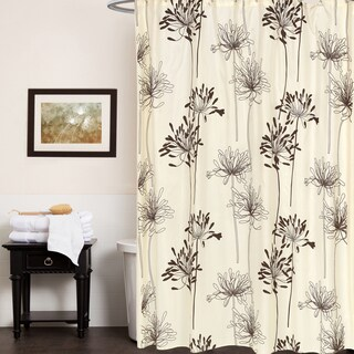 Ivory and Brown Polyester 70-inches x 72-inches Floral Pattern Shower Curtain
