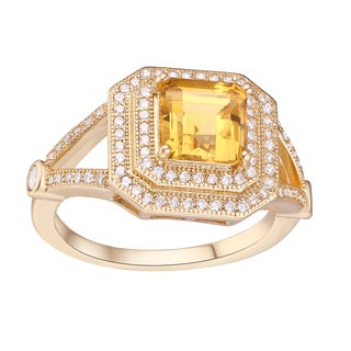 18k Goldplated 4-carat TW Citrine and White Topaz Square Ring
