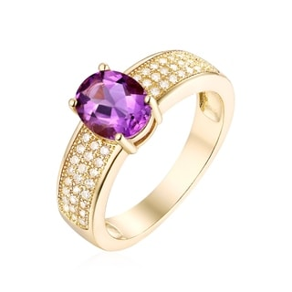 Goldplated 3ct Round-cut Amethyst Ring