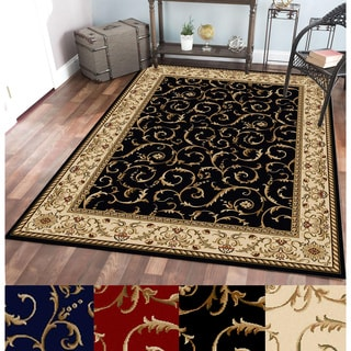 Amalfi Scroll Black/Gold Olefin Area Rug (5'5 x 7'7)