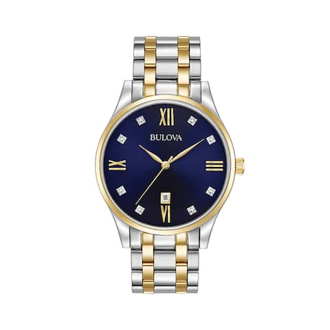bcf15c9dc Bulova Men's Stainless Steel Two Tone with 8 Diamond Hour Markers on a Blue  Dial and