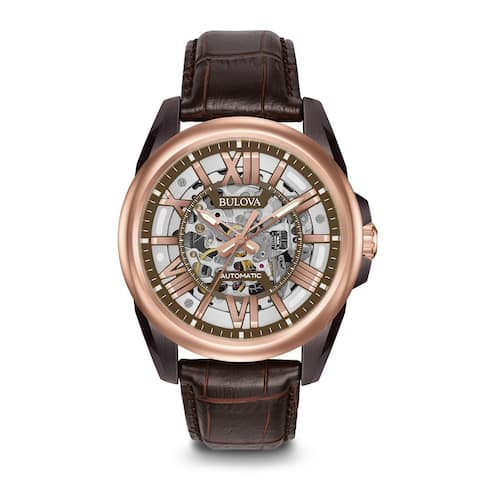 Bulova Men's Stainless Steel Automatic Rose Gold Tone Skeletonized Dial and Caseback Watch with 100M Water Resistance