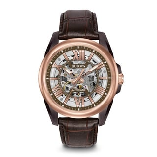 Bulova Men's 98A165 Stainless Steel Automatic Rose Gold Tone Skeletonized Dial and Caseback Watch with 100M Water Resistance