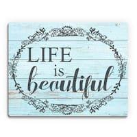 Life is Beautiful' Sky Blue Birchwood Wall Art