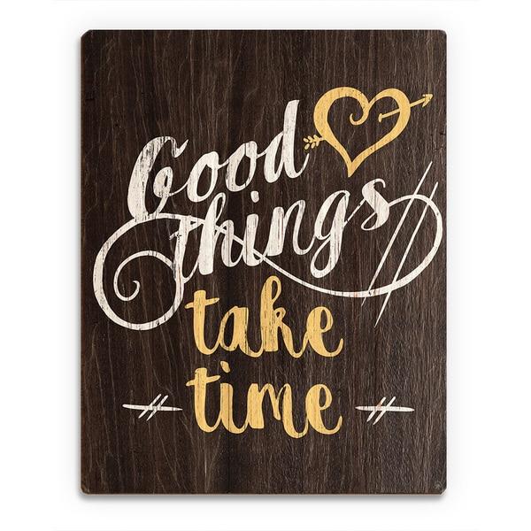 Good Things' Yellow Wood Wall Art