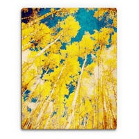 Golden Forest Wall Art on Wood