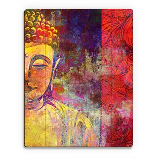 Urban Buddha Yellow Wall Art on Wood