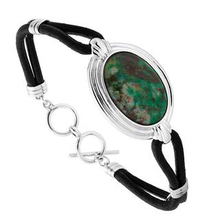 Sterling Silver Leather Terra Verde Toggle Bracelet