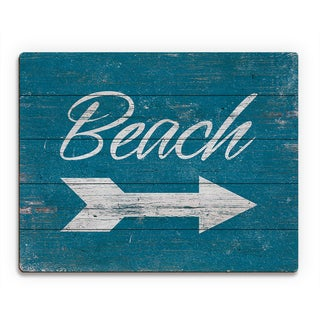 Beach Sign' White Wall Art on Wood