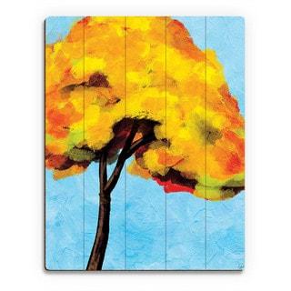 Autumn Tree Alone Bright Sky' Wood Wall Art