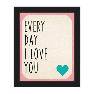 Every Day i Love You' Black Plastic Framed Canvas Wall Art