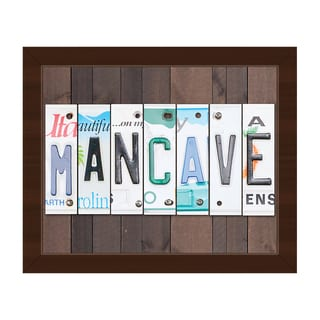 Man Cave License Plate' Framed Canvas Wall Art