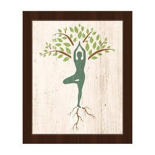 Tree Yoga' Espresso-finished Framed Canvas Wall Art