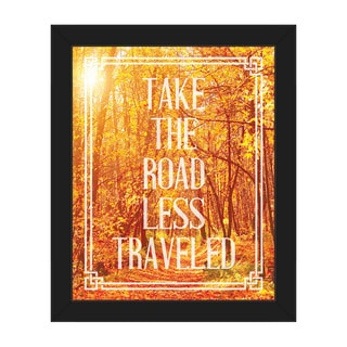 Road Less Traveled' Black-frame Canvas Wall Art