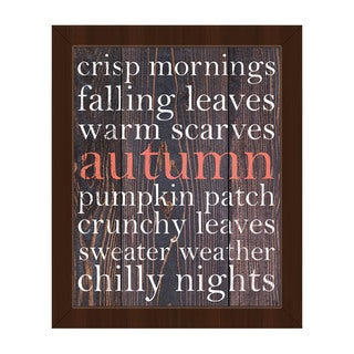 Red Autumn Words' Framed Canvas Wall Art