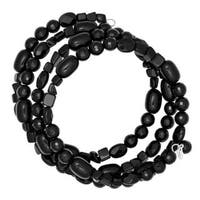 Sterling Silver and Black Agate Bead Wrap Bracelet