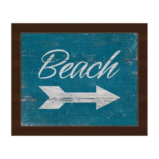 Beach Sign - White' Espresso Plastic Framed Canvas Wall Art