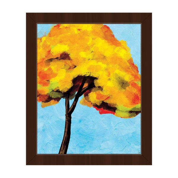 Autumn Tree Alone\' Espresso Plastic Framed Canvas Wall Art - Free ...