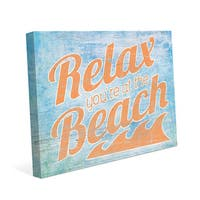 Relax At The Beach' Orange Canvas Wall Art