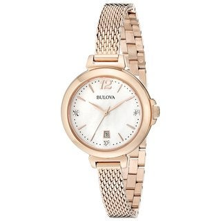 Bulova Women's 97P108 Rose Gold Tone Stainless Steel and Diamond Watch with a Mother of Pearl Dial