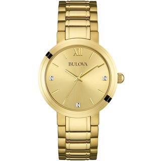 Bulova Men's 97D106 Stainless Steel Gold Tone Diamond Collection Watch with a Champagne Dial