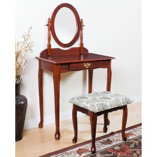 Acme Furniture Queen Anne Cherry, Oak, and White Vanity Set