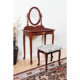 Queen Anne Cherry Wood/Veneer/Fabric Vanity Set