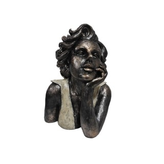 Patina Black Finish Dreaming Lady Bust Sculpture by Urban Port