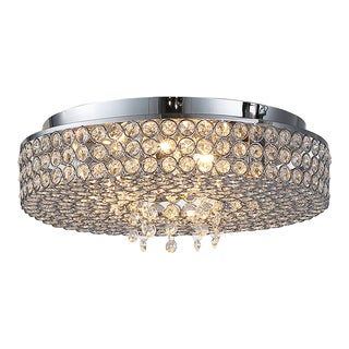 OVE Decors Monaco Chrome Crystal integrated LED Ceiling Flushmount