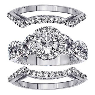 14k Gold 2 3/4ct TDW Braided Mount Halo Diamond Engagement Bridal-set with 2 Matching Bands