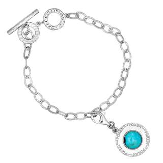 Sterling Silver Candelaria Turquoise Charm Bracelet
