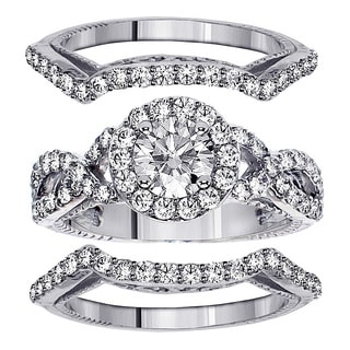 Platinum 2 3/4ct TDW Braided Mount Halo Diamond Engagement Bridal-set with 2 Matching Bands