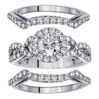 Platinum 2 3/4ct TDW Braided Mount Halo Diamond Engagement Bridal-set with 2 Matching Bands