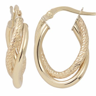 Fremada Italian 14k Yellow Gold High Polish and Diamond-cut Overlapping Double Oval Hoop Earrings