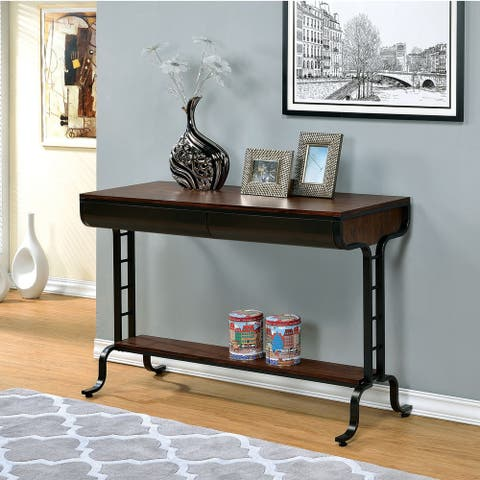 Furniture of America Vols Transitional Oak Wood 2-drawer Console Table