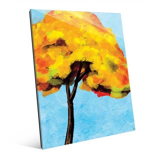 Autumn Tree Alone Bright Sky Wall Art on Acrylic