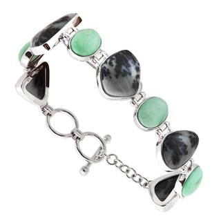 Sterling Silver Variscite and Dendritic Agate Bracelet