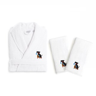 Authentic Hotel and Spa Holiday Scottie Dog Terry Cloth Turkish Cotton Bath Robe and Hand Towel Set (Set of 3)