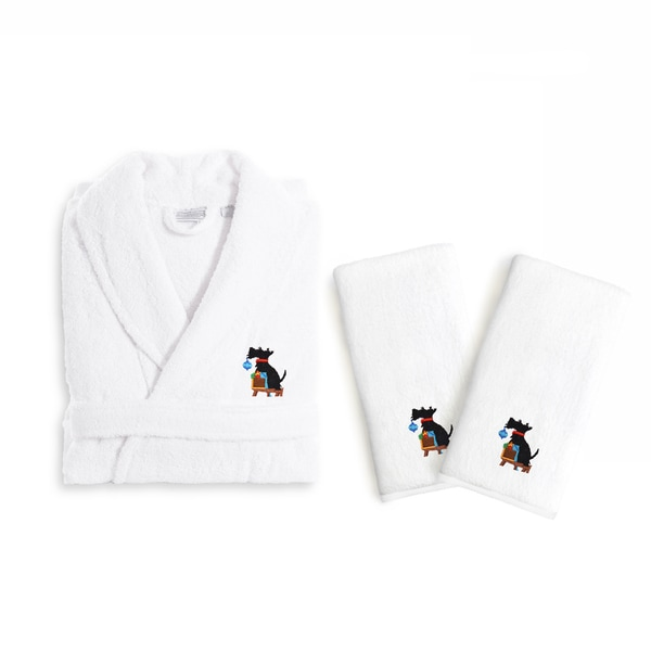 e552eaa0d7 Authentic Hotel and Spa Holiday Scottie Dog Terry Cloth Turkish Cotton Bath  Robe and Hand Towel