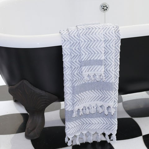Authentic Hotel and Spa Anya Dusty Blue Turkish Cotton Textured Weave Bath Towels and Sets