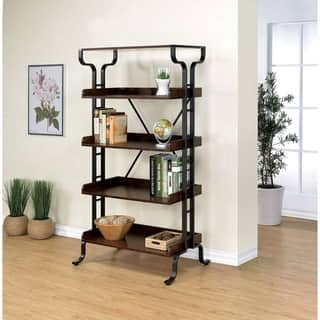 Furniture of America Ilios Transitional 5-tier Guarded Bookcase/Display Shelf|https://ak1.ostkcdn.com/images/products/12604062/P19399464.jpg?impolicy=medium