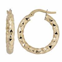 Fremada Italian 14k Yellow Gold 3x15-mm Diamond-cut Round Hoop Earrings