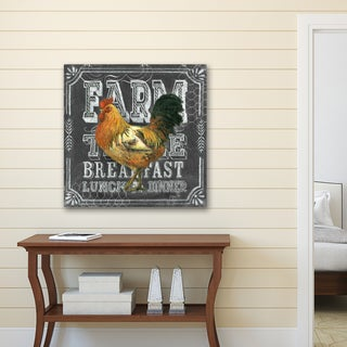 Portfolio Canvas Decor Geoff Allen 'Chalkboard -Rooster Farm Table' Stretched and Wrapped Canvas Print Wall Art