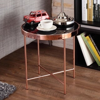 Furniture of America Rosina Contemporary Mirrored Black/Rose Gold Round End Table