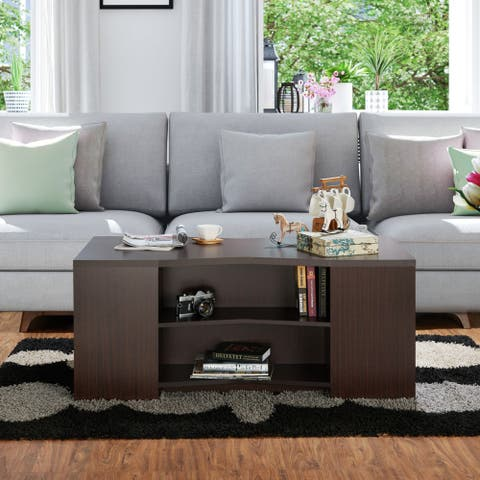 Furniture of America Orem Contemporary Brown Open Storage Coffee Table