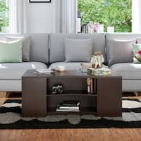 Furniture of America Carleigh Contemporary Walnut Open Storage Coffee Table