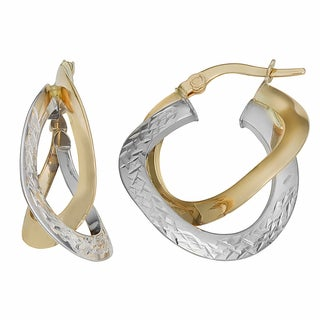 Fremada Italian 14k Two-tone Gold Diamond-cut and High Polish Double Hoop Earrings