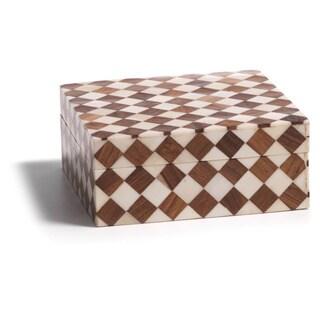 10-Inch Long Ivory Coast Bone and Wood Decorative Box with Lid